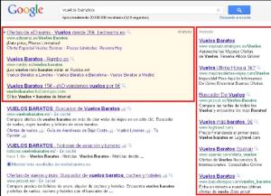 SEM Campaña google resultado de búsqueda